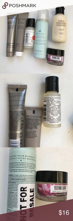 NEW Prestige Hair Care Bundle: Drybar, AG NEW/UNUSED: Six prestige travel-sized mini hair goodies! This listing includes: Detox Dry Shampoo by Drybar (1.4 oz), John Masters Organics Citrus & Neroli Detangler (2 fl oz), Apple Cider Vinegar hair rinse by dpHUE (1 fl oz), AG texture gloss (0.4 fl oz), Living Proof nourishing styling cream & pre-shampoo treatment (1 fl oz x2). Perfect for travel or stocking stuffers! ✨ PLEASE NOTE: Some barcodes are stickered over or crossed through! drybar…