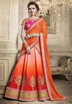 Beautiful Designer Party Wear latest saree blouse for pear shaped body. Lehenga Saree , Wedding Wear Sarees, Indian Traditional Sari delivered to USA UK Australia. Orange Lehenga, Lehenga Style Saree, Party Wear Lehenga, Indian Lehenga, Silk Lehenga, Ghagra Choli, Silk Dupatta, Net Saree, Georgette Fabric