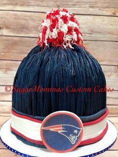New England Patriots classic pompom smash cake for Devin's 1st Birthday