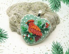 CHRISTMAS CARDINAL bird heart pendant, silver tone metal bezel, 30x30 mm, polymer clay filigree applique technique. Gift for her, talisman