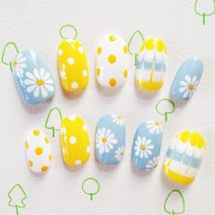 Floral yellow and blue and white