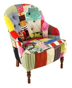 Patchwork chair. Love the colours and patterns.