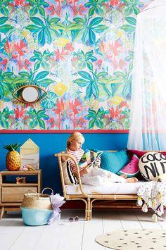 Inside Out Magazine Au. Tropical-kids-room-nov15. Wallpaper from Emily Ziz Style Studio designed by Sisters Gulassa.