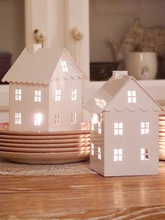 DIY house shaped white plastic lantern table lights for 2014 Christmas decoration - handmade light up decor - New years table lights - We can't live without them this month by Noel Christmas, Christmas Crafts, Christmas Decorations, Holiday Decor, Xmas, White Christmas, Christmas Candle, Putz Houses, Paper Crafts