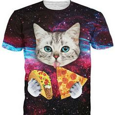 3D cat eating pizza !