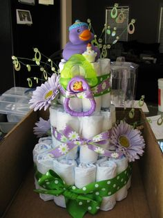 *Diaper Cakes by Lindsay* Ducky Cake. Teething ring and rubber ducky