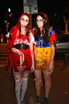Even Disney Princesses Die.  Or live as the undead, whatever.Little Red Riding Hood and Snow White as zombies it one of the best costumes I got to see. I love Snow's face in this picture.  - Zombie Walk - TLV, Israel.