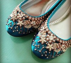 Mermaid's Slipper Bridal Ballet Flats Wedding Shoes – Any Size – Pick your own shoe color and crystal color Meerjungfrau.