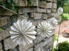 Paper Rosette Pointed Garland-8 ft-Snowflake garland-Pinwheel-Wedding Decor-Wedding Garland-Book Garland-Paper Garland-Hanging Paper Art on Etsy, $15.00
