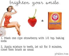 Baking soda is found in most toothpastes and whiteners, so its no surprise that it acts as a powerful tooth whitener, but did you know strawberries will enhance the whitening effect? Strawberries contain an enzyme called Malic acid. This organic acid acts like an astringent by removing surface stain of the teeth.
