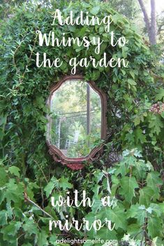 Walled Gardens and Whimsy My husband found this mirror and I knew exactly where I wanted it. I love the whimsy it adds to our garden. Garden Whimsy, Diy Garden, Dream Garden, Garden Projects, Garden Art, Austin Rosen, Garden Mirrors, Mirrors In Gardens, Vintage Rosen