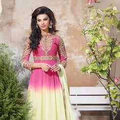 Pink and Off White Faux Georgette Anarkali Churidar Kameez