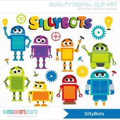 These SILLYBOT ROBOTS clipart set is so fun and adorable - add gears, screws or a lightbulb to finish of the design! Great for designing western /