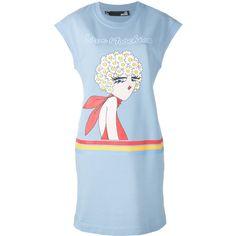 Love Moschino Cartoon Print T-shirt Dress (2.106.300 IDR) ❤ liked on Polyvore featuring dresses, love moschino, t-shirt dresses, comic book, t shirt dress and blue t shirt dress