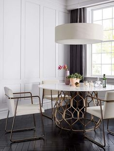 Find modern dining chairs as dashing as the table itself. Shop online for chairs and benches in modern upholstery such as velvet, leather and rattan. Dining Room Design, Dining Room Chairs, Dining Furniture, Interior Design Kitchen, Dining Rooms, White Dining Room Table, Furniture Cleaning, Dining Sets, Dining Tables