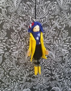 Coraline Clothespin Doll Ornament by LittleParade on Etsy, $12.00