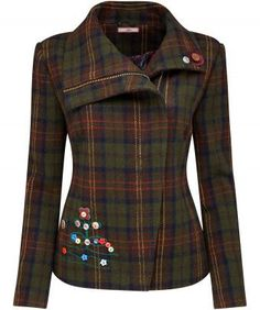 """Full of charm and so quirky, this Checked Biker Jacket boasts embroidery and embellishment for a truly unique look. Complete with a concealed zip, team it with a great pair of jeans and your favourite winter boots. Approx Length: 61cm Our model is: 5'7"""""""