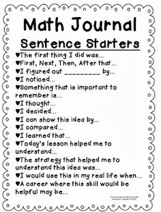 Math Journal Sentence starters. A great way to incorporate writing in math.