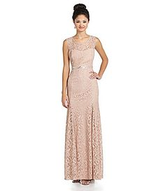 Sequin Hearts Cap-Sleeve Lace Gown   Dillards.com