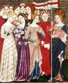 Italian women, 1380. Illustration from an Italian breviary showing women's figured silk gowns and a saint.