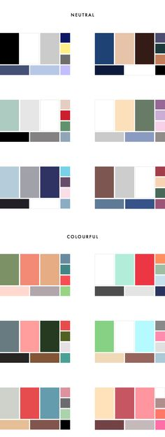 HOPE I think you should choose one of these color pallets for when we make your capsule wardrobe! 36 Colour Palettes for your Wardrobe Part II: Colourful vs Neutral Minimalist Wardrobe, Minimalist Interior, Minimalist Decor, Minimalist Kitchen, Minimalist Living, Minimalist Bedroom, Modern Minimalist, Colour Schemes, Color Combos