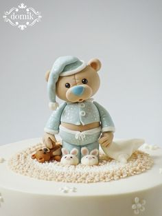 Baby boy baptism cale christening teddy bears 67 ideas for 2019 Fondant Cake Toppers, Fondant Baby, Fondant Cakes, Cupcake Cakes, Cupcake Toppers, Baby Boy Cakes, Cakes For Boys, Baby Shower Cakes, Fondant Figures Tutorial