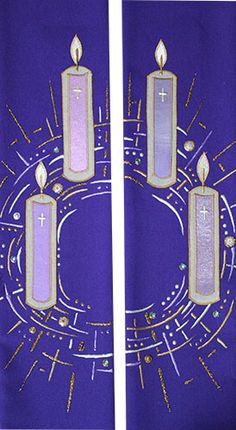 New advent stole from Elizabeth Lawson church vestments. Candle advent wreath