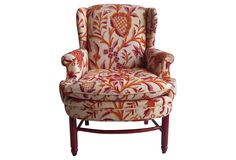One Kings Lane - Wingback Chair w/ Raspberry Textile
