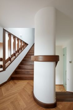 """Image 3 of 30 from gallery of Renovation of a Functionalist Villa """"Indian Ship"""" / Idhea. Photograph by BoysPlayNice Stair Handrail, The Originals Characters, Cladding, Architecture Details, Exterior Design, Villa, Stairs, House Design, Ship"""