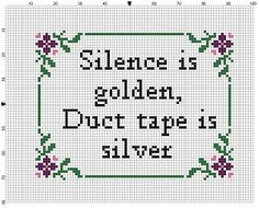 Silence is Golden Duct Tape is Silver Cross by SnarkyArtCompany