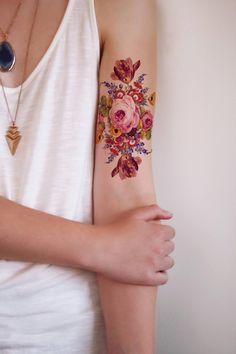 Large vintage floral rose tattoo / rose tattoo / boho temporary tattoo / floral fake tattoo / boho temporary tattoo - I love vintage-inspired floral tattoos! This vintage inspired floral tattoo has a pretty pink rose - Fake Tattoos, Mini Tattoos, Temporary Tattoos, Body Art Tattoos, New Tattoos, Tatoos, Rose Arm Tattoos, Arabic Tattoos, Dragon Tattoos