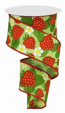 Strawberry Color, Strawberry Patch, Bright Green, Red Green, Yellow, Green Tops, Emerald Green Top, Ribbons Galore, Wreath Making Supplies