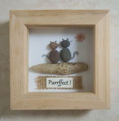 Pebble Art framed Picture- Cats