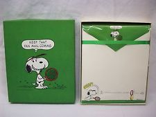 Vintage 70s Hallmark Snoopy Peanuts Tennis Stationary Set Kelly Green Keep that Fan Mail coming