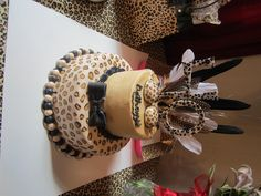 Cheetah (leopard) print cake, 40th birthday (the thing on top is a cheetah print bra)