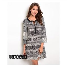 Drop Waist Dress Black and white drop waist dress. Made of rayon/cotton blend. Size S, M Dresses