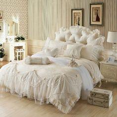 Ice Cream Girls Lace Ruffle Tulle Bowtie Jacquard Bedding