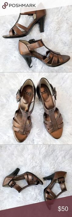 Sofft Bronze Leather Heels Sofft Bronze Leather Heels.  Heel measures 3.75 inches. Barely worn some wear.  Excellent condition. Sofft Shoes Heels