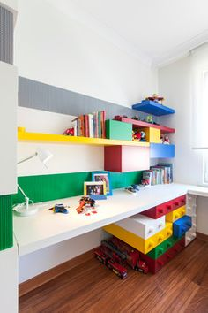 Full wall shelf/desk for Josh room