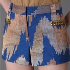 Tracy Reese New York studded ikat shorts Wear it, flaunt it this year. Will compliment a white blouse beautifully. Like new Tracy Reese studded shorts Tracy Reese Shorts