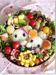 Cherina Cherine bento - Bento and Fun Food - Bento Ideas Kawaii Bento, Cute Bento, Bento Ideas, Bento Recipes, Cute Food, Good Food, Yummy Food, Bento Box Lunch, Bento Food