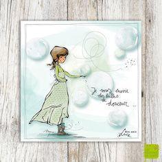 Je vous envoie des bulles de douceur ... - Carte de voeux illustrée par Myra Vienne - www.editionsdecortil.com