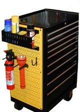 Keep everything stored securely in a rolling toolkbox with sides of metal pegboard.