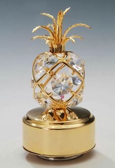 Ornate Gold Pineapple Music Box