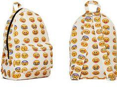 Emoji Backpack Funny Boys Girls Smiley Fangirl Satchel Shoulders Bag Schoolbag for sale online Emoji Backpack, Retro Backpack, Travel Backpack, Emoji School Supplies, Pretty Backpacks, Men's Backpacks, School Backpacks, Emoji Design, Fashion Handbags