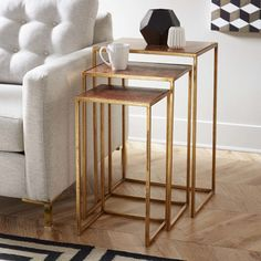 Found it at AllModern - Bertrand 3 Piece Nesting Tables Square Side Table, Round Side Table, End Tables, Side Table With Storage, Metal Side Table, Living Room Furniture, Living Room Decor, Small Accent Tables, Furniture Design
