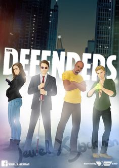 The #Defenders 2017 💥#CharlieCox as #MattMurdock #Daredevil 💥#KrystenRitter as #JessicaJones 💥#MikeColter as #LukeCage 💥#FinnJones as #DannyRand #IronFist from Marvel's The Defenders #DEFEND  art by #JewelXJackman #theArtOfAgentX #illustration #drawing #art #portrait #cartoon #caricature #fanart #marvel