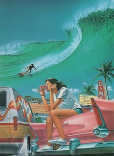 art retro palmandlaser: Shohei Higuchi, from JCA Annual 5 Photo Wall Collage, Picture Wall, Retro Wallpaper Iphone, Iphone Wallpapers, Posters Vintage, Art Posters, Travel Posters, Airbrush Art, Surf Art