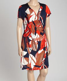 This Navy & Orange Abstract Surplice Dress - Plus is perfect! #zulilyfinds