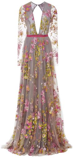 Naeem Khan Floral Embroidered Long Sleeve Gown Multi on shopstyle.com